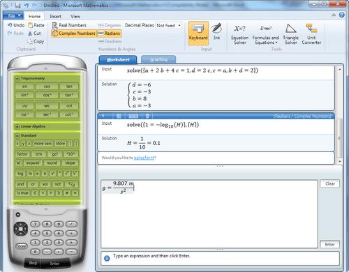 Phần mềm giải toán trên máy tính - Microsoft Mathematics